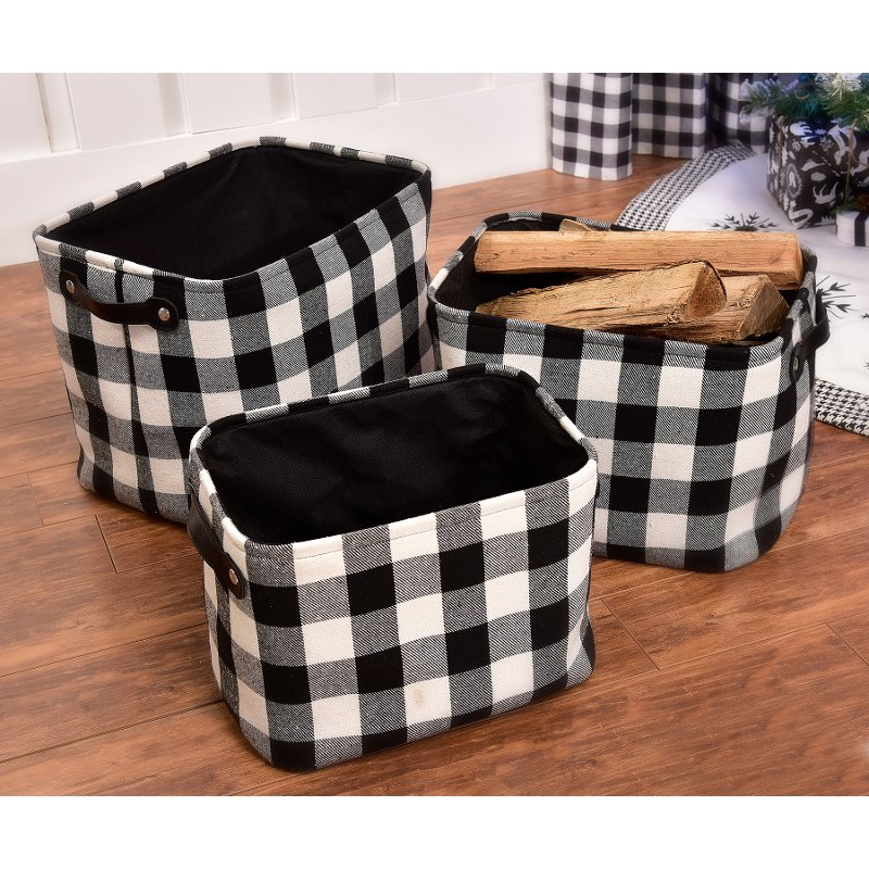 11 Inch Black and White Plaid Basket with Handles