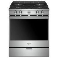 WEGA25H0HZ Whirlpool 5.8 cu. ft. Smart Contemporary Handle Slide-in Gas Range with EZ-2-LIFT Hinged Cast-iron Grates - Stainless Steel