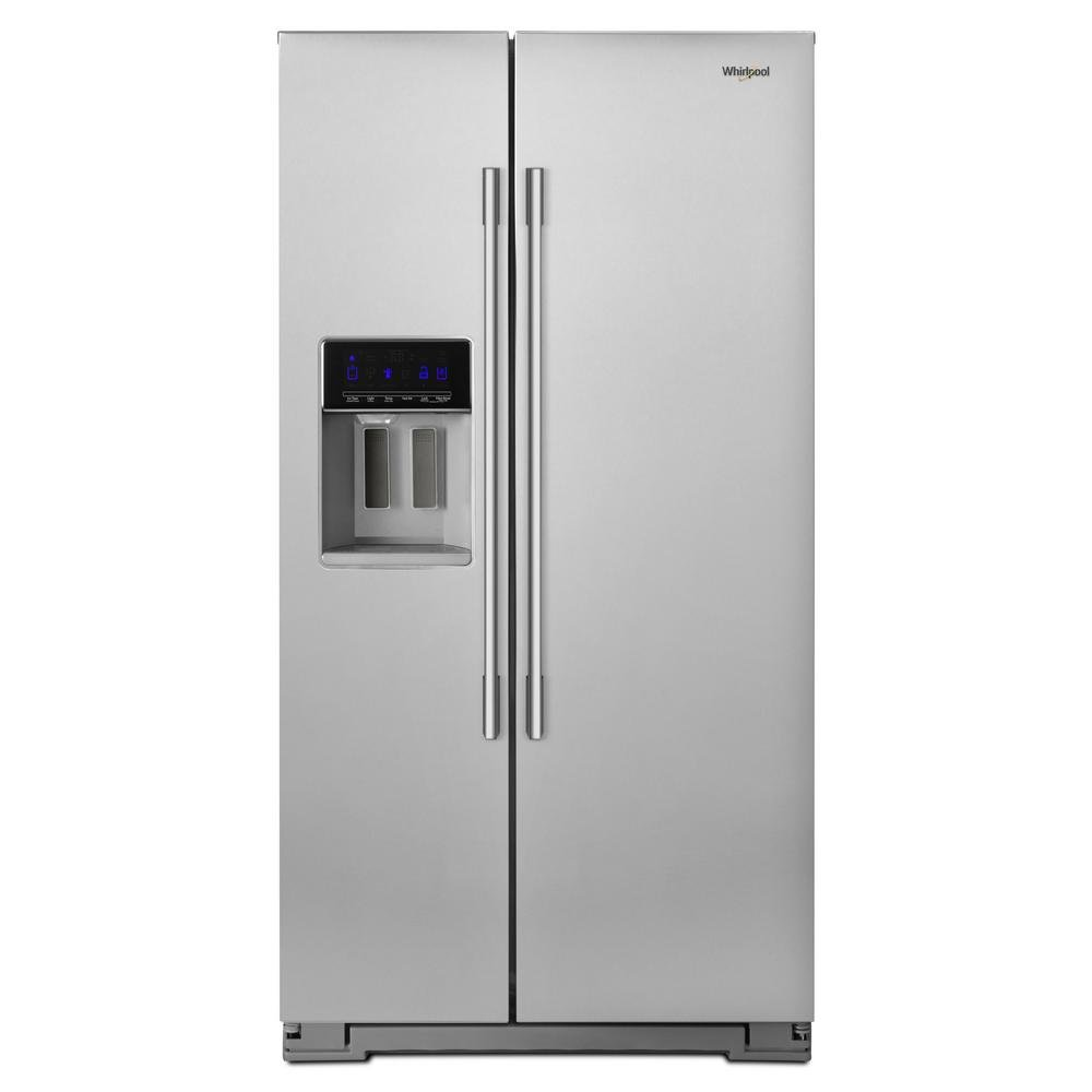 Whirlpool Side By Refrigerator With Exterior Ice And Water Dispenser 36 Inch Stainless Steel Counter Depth Rc Willey Furniture