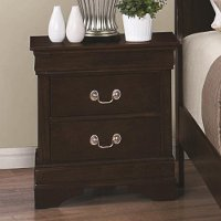 Classic Traditional Cappuccino Brown Nightstand - Louis Phillipe