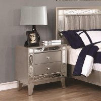Contemporary Metallic Mirrored Nightstand - Leighton