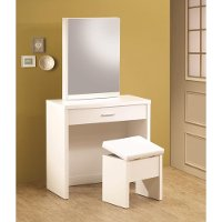 Modern White Vanity and Storage Bench - Accents