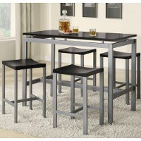 Black and Silver 5 Piece Counter Height Dining Set
