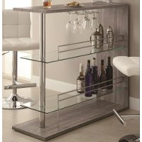 Two-Shelf Contemporary Weathered Gray Bar Table