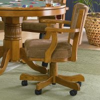 Oak and Amber Upholstered Game Chair - Mitchell