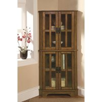 Warm Brown Traditional Dining Room Curio Cabinet