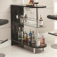 Glossy Black Contemporary Bar Cabinet