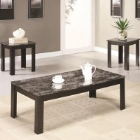 Black Marble Casual 3 Piece Living Room Table Set