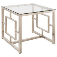 Contemporary Nickel Glass Top End Table - Siegmiller