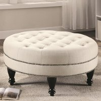 Traditional Oatmeal Linen Round Cocktail Ottoman - Accents