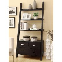 Cappuccino Brown Contemporary Ladder Bookshelf