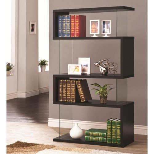 Walnut Brown Industrial Bookshelf14300 Black Contemporary Casual Bookcase