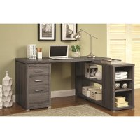 Weathered Gray Executive L-Shaped Office Desk