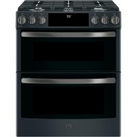 PGS960FELDS GE Profile Series 30  Front Control Gas Double Oven Convection Range - Black Slate