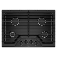 WCG55US0HB Whirlpool 30 Inch Gas Cooktop with 4 Burners and EZ-2-LIFT Hinged Cast-Iron Grates - Black