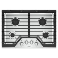 WCG55US0HS Whirlpool 30 Inch Gas Cooktop with 4 Burners and EZ-2-LIFT Hinged Cast-Iron Grates - Stainless Steel