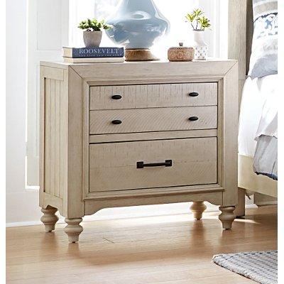 Rustic Antique White Nightstand - Catawba