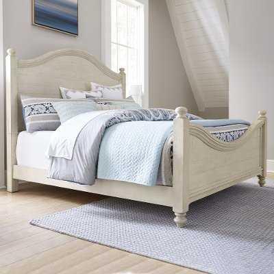 Rustic Antique White King Size Bed - Catawba