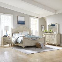 Rustic Antique White 4 Piece King Bedroom Set - Catawba