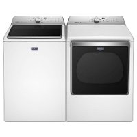 KIT Maytag Top Load Washer and Dryer with Sanitize Cycle Set - White Electric