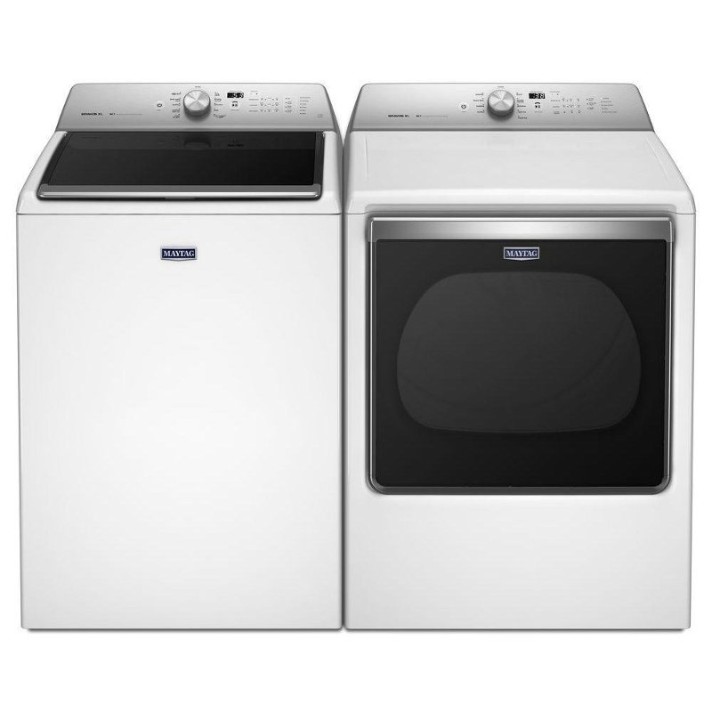 Maytag Top Load Washer And Dryer With Sanitize Cycle Set White Electric