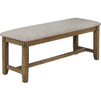 Wheat Brown Upholstered Dining Bench - Clara