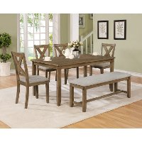 Wheat Brown 6 Piece Dining Set with Bench - Clara