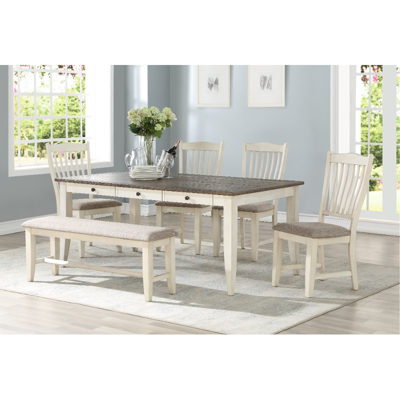 White and Gray 5 Piece Dining Set - Grace
