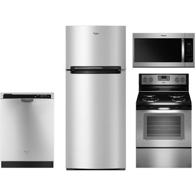 Whirlpool 4 Piece Kitchen Appliance Package with Electric Range ...