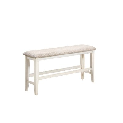 Gray and White Counter Height Dining Bench - Grace