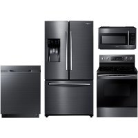 KIT Samsung 4 Piece Kitchen Appliance Package with Electric Range with Dual Power Elements - Black Stainless Steel