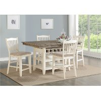 Gray and White Counter Height 5 Piece Dining Set - Grace