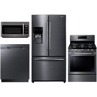 KIT Samsung 4 Piece Kitchen Appliance Package with Gas 5.8 cu. ft. Range - Black Stainless Steel