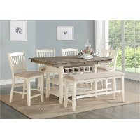 Gray and White Counter Height 6 Piece Dining Set - Grace
