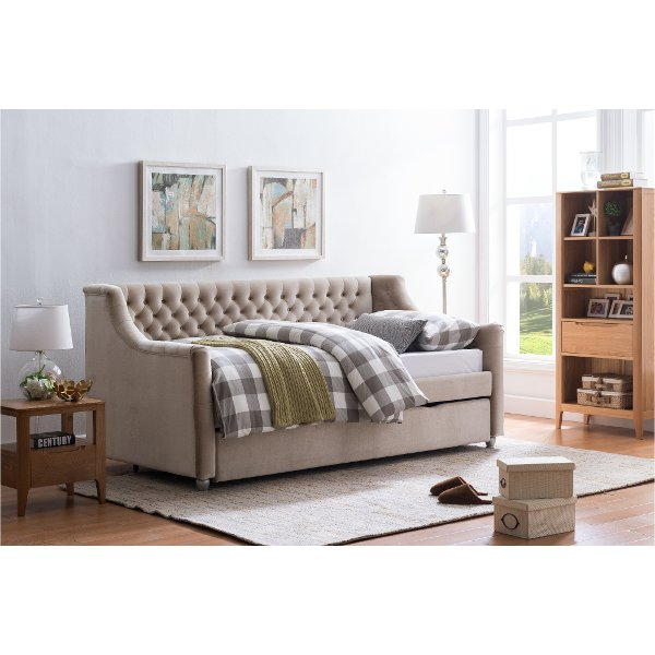 Champagne Velvet Upholstered Twin Daybed With Trundle