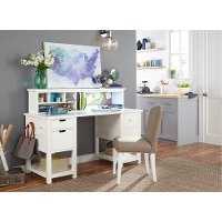 Classic White Jr. Executive Desk and Hutch - Study Hall