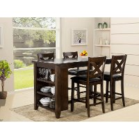 KIT Dark Walnut Counter Height 5 Piece Dining Set - Monaco