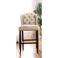 Beige Wingback Upholstered Counter Height Stool - Antique