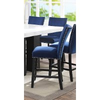 Blue Velvet Upholstered Counter Height Stool - Camila