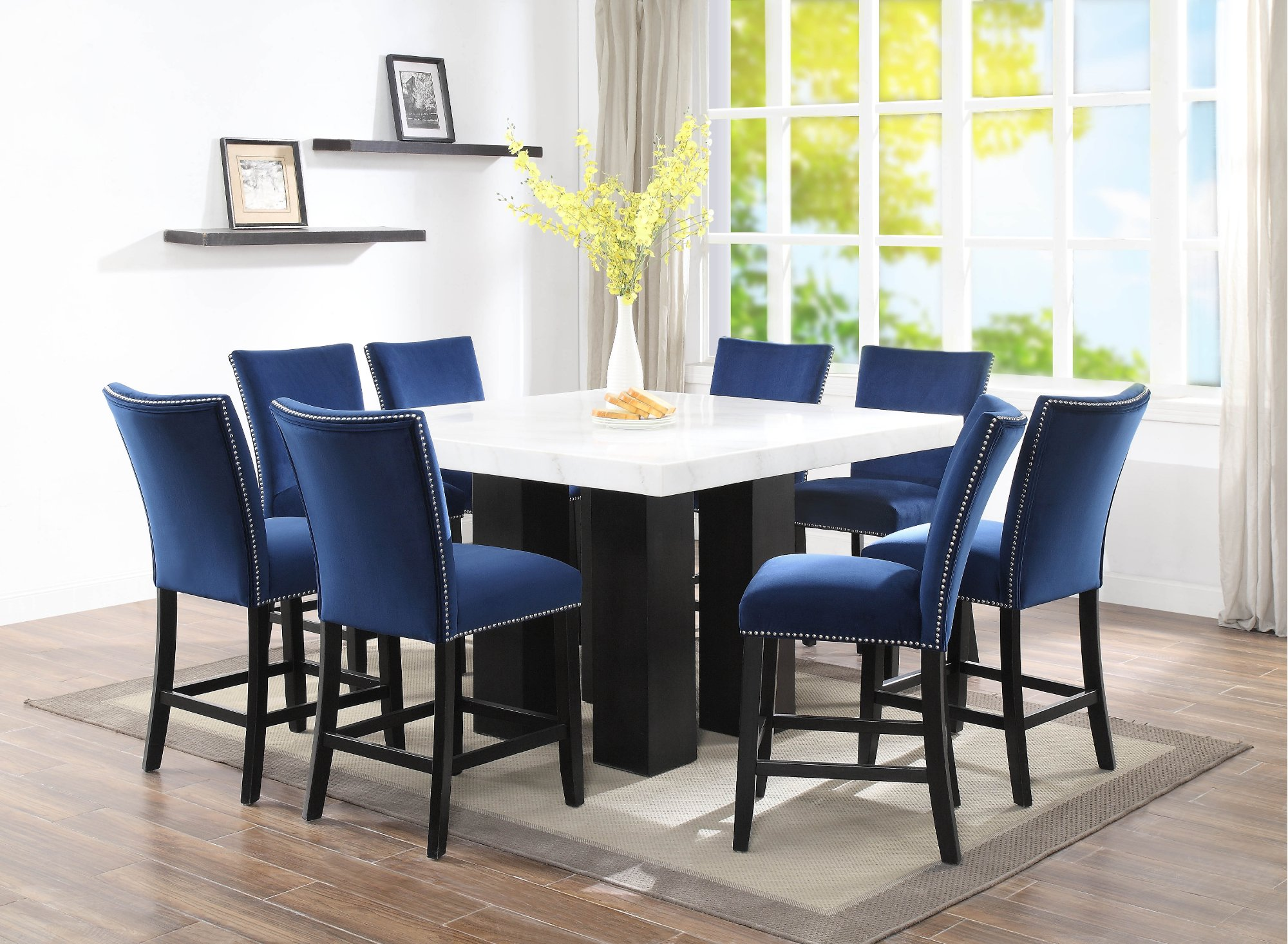 Best Selling Marble And Blue 9 Piece Counter Height Dining Set Camila Accuweather Shop