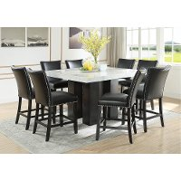 Marble and Black 9 Piece Counter Height Dining Set - Camila