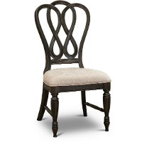 Traditional Antique Black Upholstered Dining Room Chair - Natchez Trace
