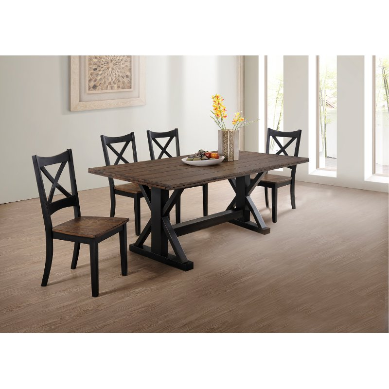 Black And Brown Farmhouse 5 Piece Dining Set Lexington Rc Willey Furniture