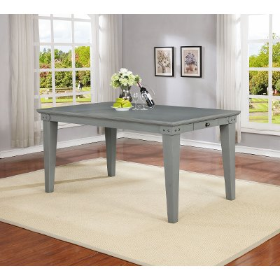 Dove Gray Causal Farmhouse Dining Room Table - American Vintage