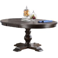 Espresso Brown Round Dining Table - Xcalibur
