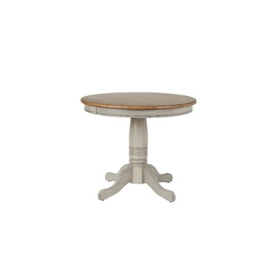 Rustic Gray and Brown Round Dining Table - Barnwell