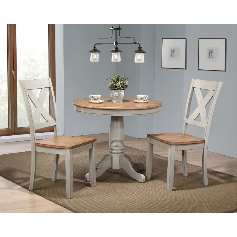 Rustic Gray And Brown 3 Piece Round Dining Set Barnwell