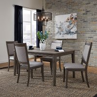 Gray Urban Modern 5 Piece Dining Set with Upholstered Chairs - Tanners Creek