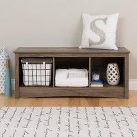 Drifted Gray 3 Compartment Cubbie Bench