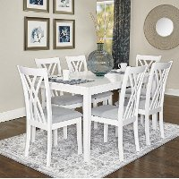 White 7 Piece Dining Set - Starla